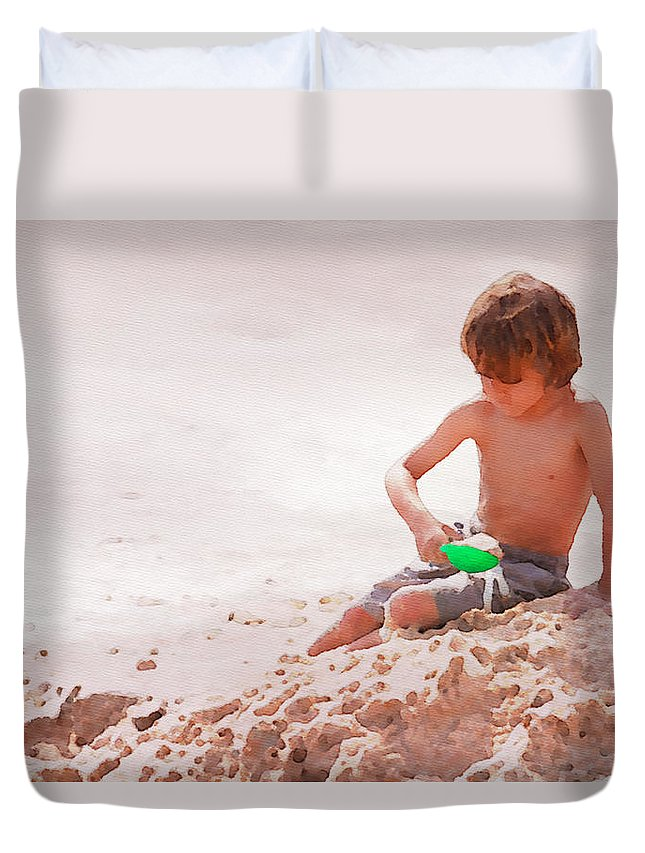 Boy Duvet Cover featuring the photograph Castlemaker by Alice Gipson