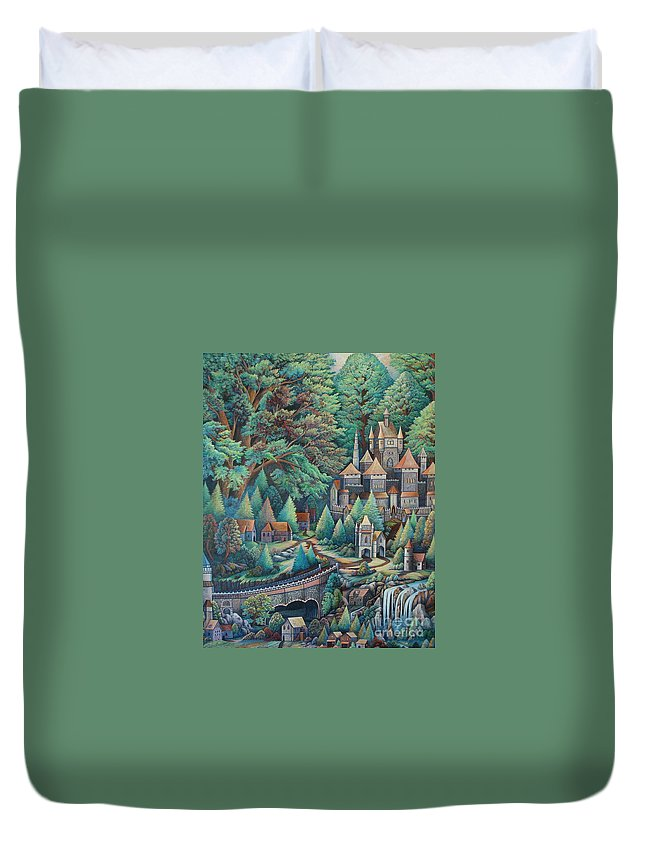 Fantasy Art Duvet Cover featuring the painting Castles by Greg Reichert