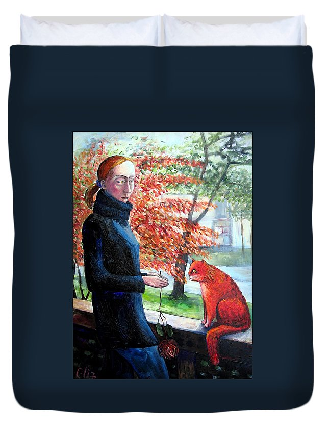 Fling Duvet Cover featuring the painting Casual Fling by Elisheva Nesis