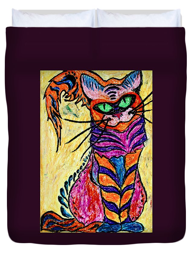 Cat Duvet Cover featuring the pastel Cat 3 by Carol Tsiatsios