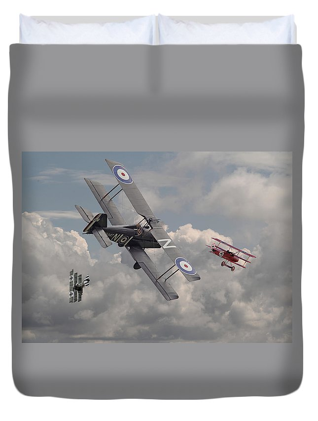 Aircraft Duvet Cover featuring the digital art Cat Among The Pigeons by Pat Speirs