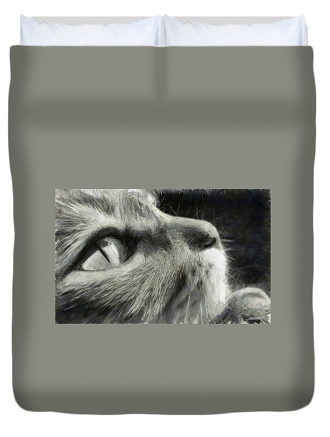Cat Duvet Cover featuring the painting Cat Eyes by Tano V-Dodici ArtAutomobile