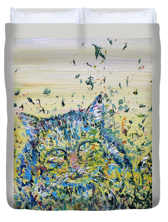 Cat Duvet Cover featuring the painting Cat In The Grass by Fabrizio Cassetta