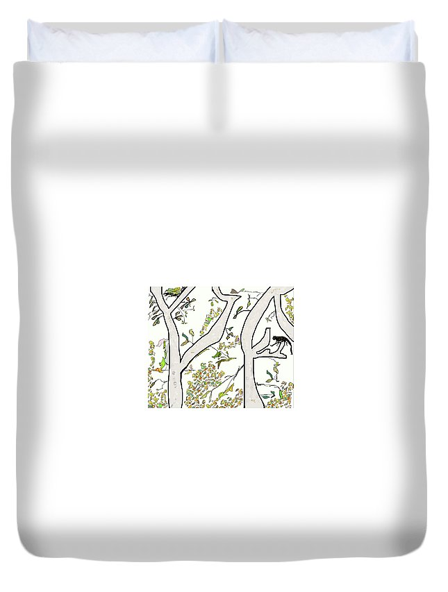 Cat Duvet Cover featuring the digital art Cat In Tree White Background by SC Heffner