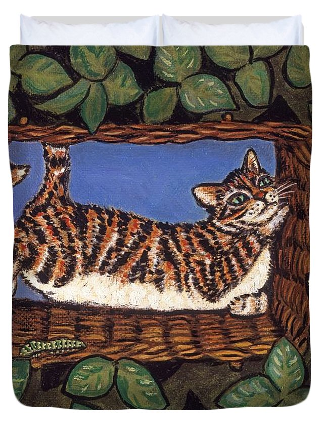 Folk Art Cat Duvet Cover featuring the painting Cat Napping by Linda Mears