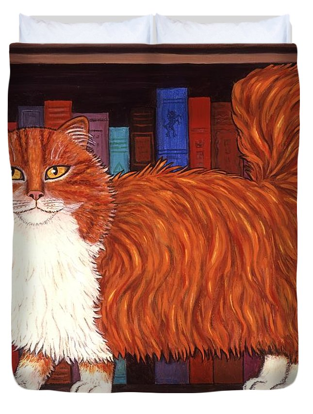 Cat Duvet Cover featuring the painting Cat On Book Shelf by Linda Mears