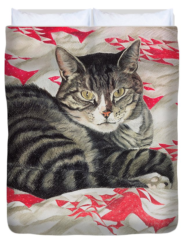 Striped; Stripes; Feline; Portrait; Pet; Relaxing; Relaxed; Grey; Gray; Staring Duvet Cover featuring the painting Cat On Quilt by Anne Robinson