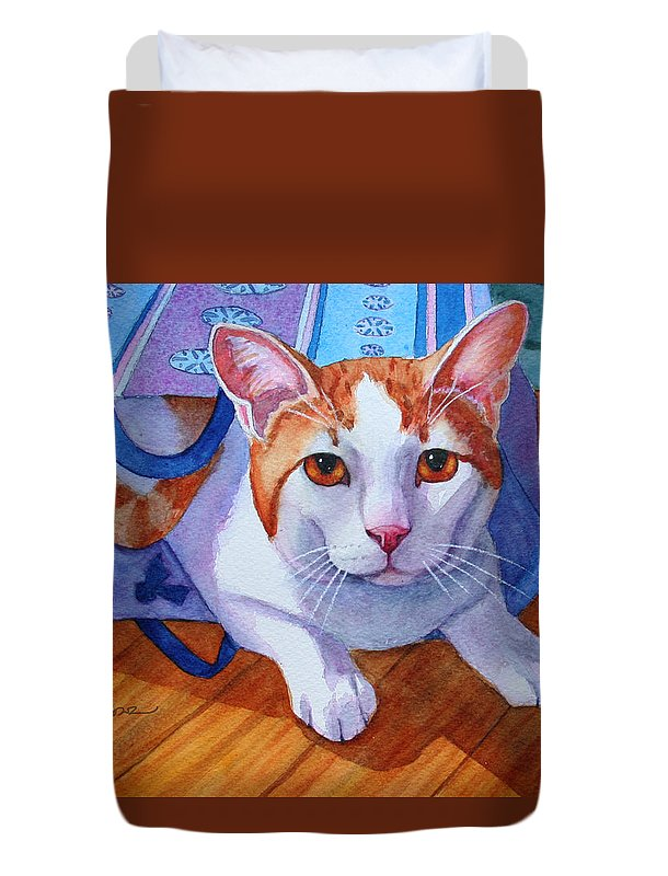 Cat Duvet Cover featuring the painting Cat Out Of The Bag by Rachel Armington