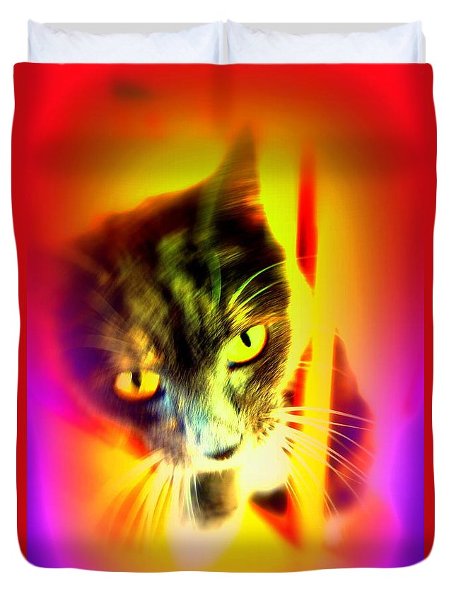 Cat Duvet Cover featuring the photograph You Can Come And Visit The Cat People by Hilde Widerberg