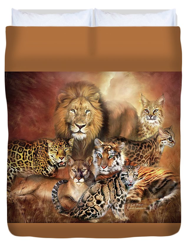 Lion Duvet Cover featuring the mixed media Cat Power by Carol Cavalaris