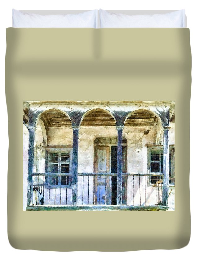 Abandoned Duvet Cover featuring the digital art Cat Sitting On A Balcony by Roy Pedersen