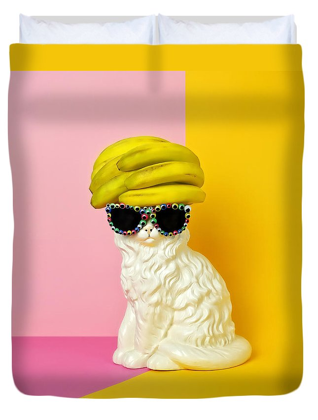Statue Duvet Cover featuring the photograph Cat Wearing Sunglasses And Banana Wighat by Juj Winn