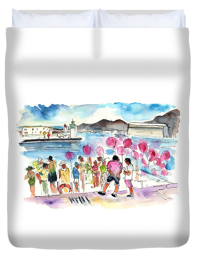 Travel Duvet Cover featuring the painting Catamaran Party In Cartagena by Miki De Goodaboom
