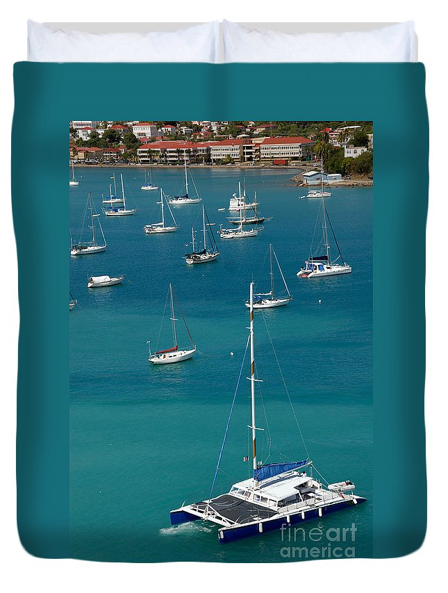 Azure Duvet Cover featuring the photograph Catamaran St Thomas Usvi by Amy Cicconi
