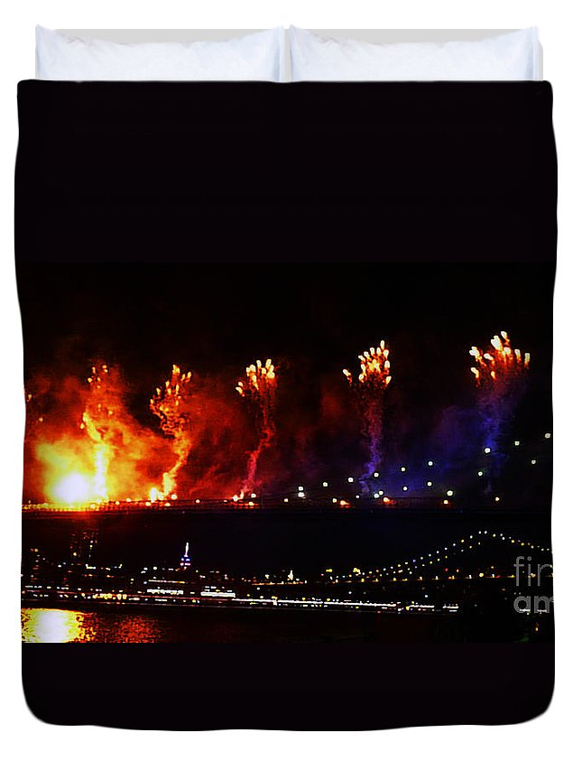 Fireworks Duvet Cover featuring the photograph Catch A Fire by Kendall Eutemey