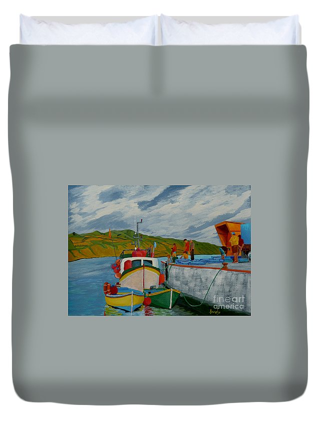 Boats Duvet Cover featuring the painting Catch Of The Day by Anthony Dunphy