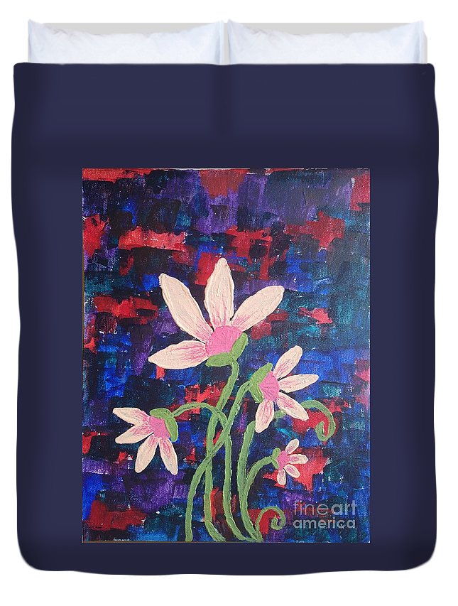 Flower Duvet Cover featuring the painting Catch The Colors by KarishmaticArt -Karishma Desai