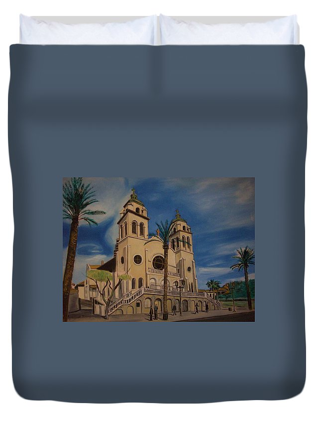Duvet Cover featuring the painting Cathedral by Jude Darrien