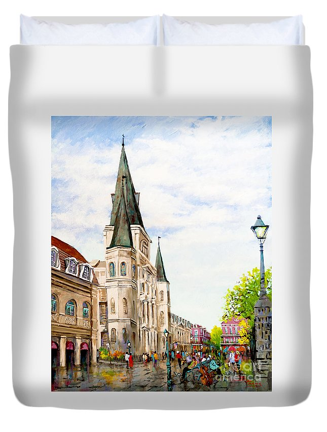 New Orleans Artist Duvet Cover featuring the painting Cathedral Plaza - Jackson Square, French Quarter by Dianne Parks