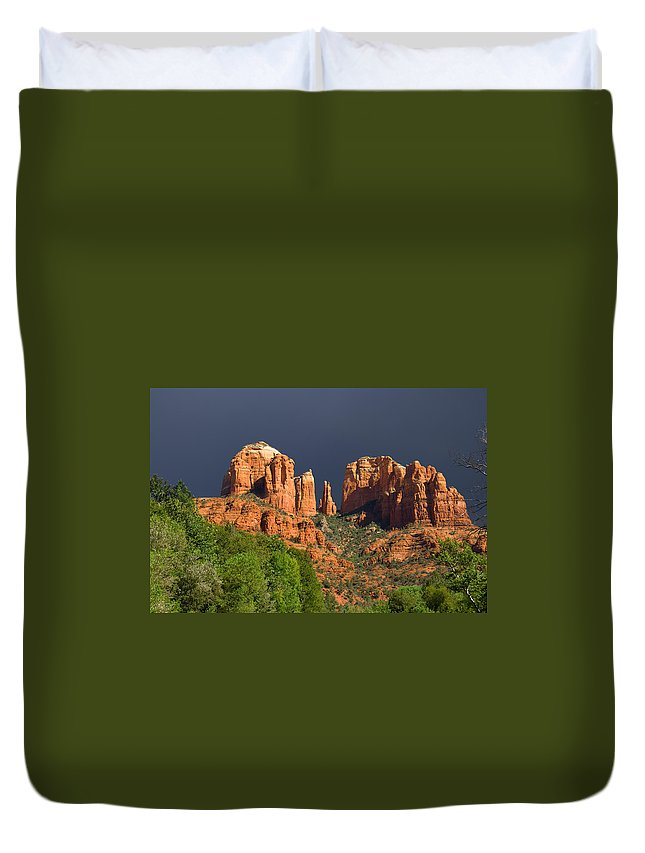 Red Rocks Duvet Cover featuring the photograph Cathedral Rock Before The Storm by Alexey Stiop