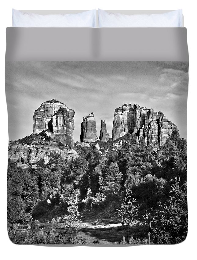 Arizona Duvet Cover featuring the photograph Cathedral Rocks Red Rock State Park Arizona by Bob and Nadine Johnston