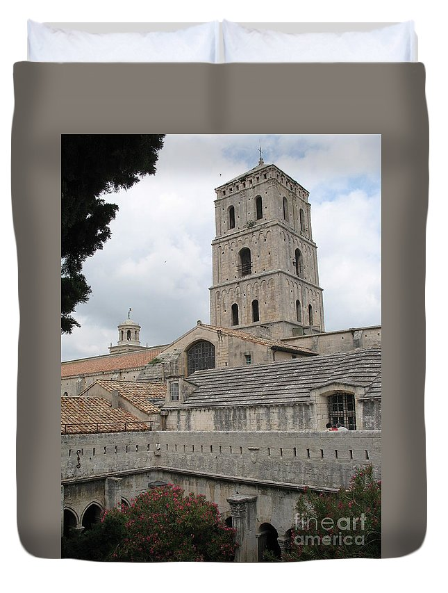 Cathedral Duvet Cover featuring the photograph Cathedral Saint Trophime - Arles by Christiane Schulze Art And Photography
