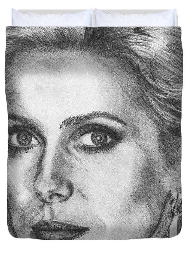 Mccombie Duvet Cover featuring the drawing Catherine Deneuve In 1976 by J McCombie