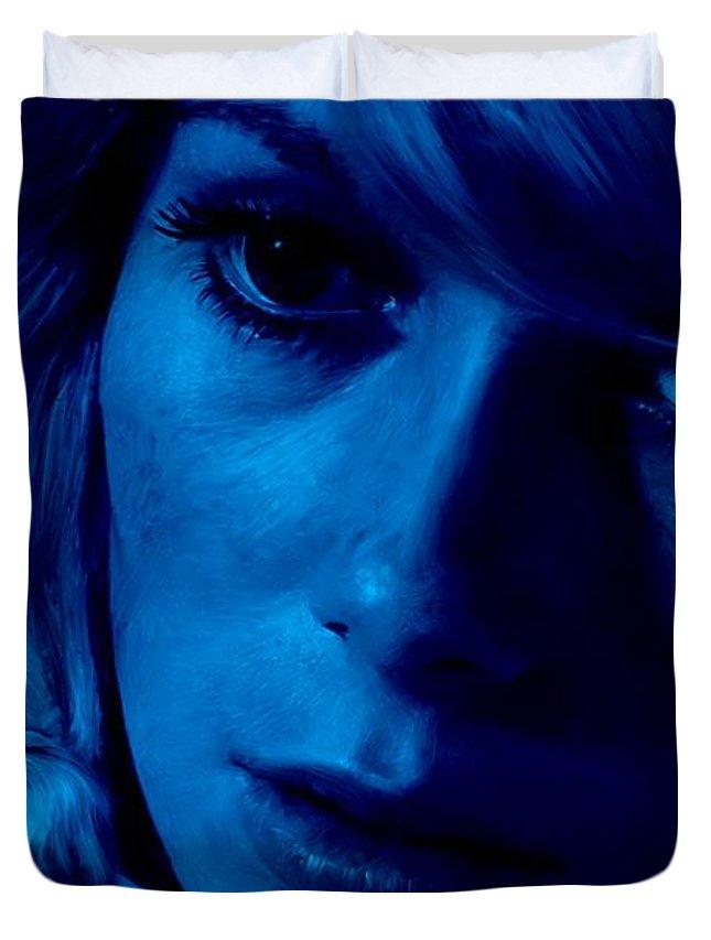 Catherine Deneuve Duvet Cover featuring the digital art Catherine Deneuve in the film Repulsion by Gabriel T Toro