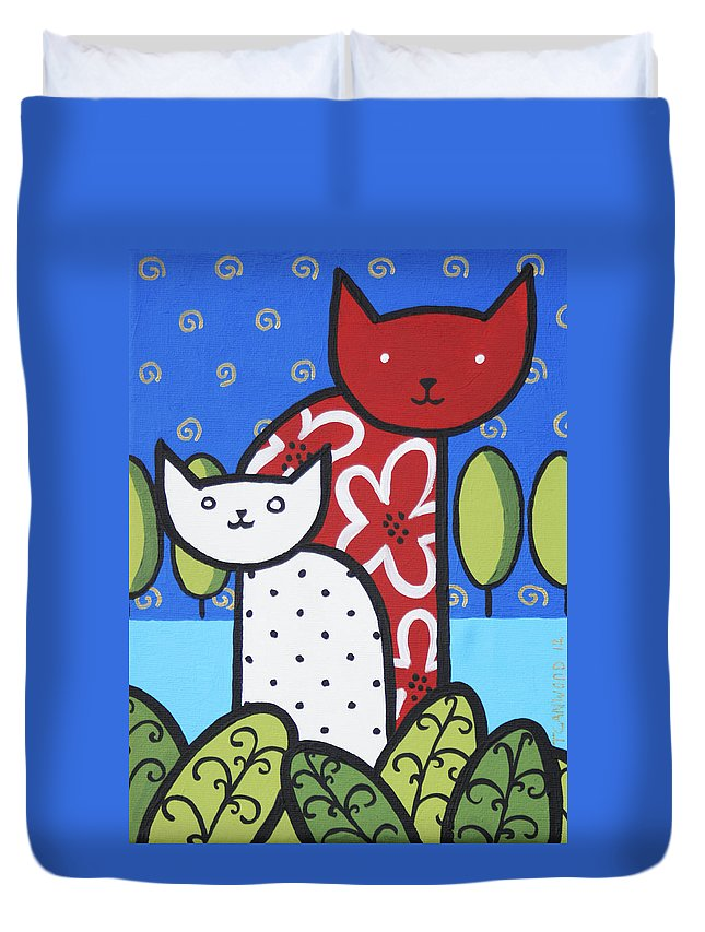 Painting Duvet Cover featuring the painting Cats 1 by Trudie Canwood