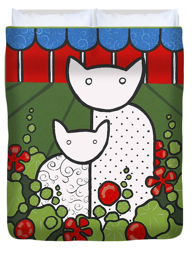 Cats Duvet Cover featuring the painting Cats 5 by Trudie Canwood