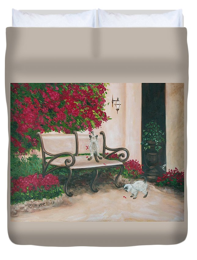 Cat Fine Art Duvet Cover featuring the painting Cat Art Print On Canvas Oil Painting Hire Commission Pet Portrait Artist by Diane Jorstad
