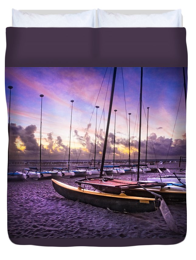 On Duvet Cover featuring the photograph Cats At Dawn by Debra and Dave Vanderlaan