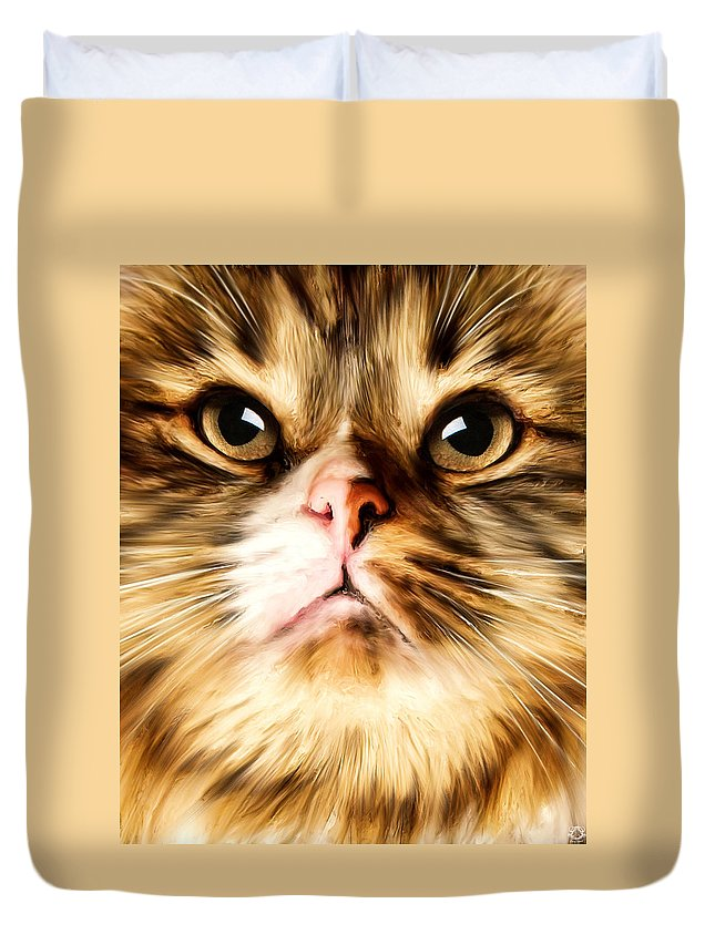 Cat Duvet Cover featuring the photograph Cat's Perception by Lourry Legarde