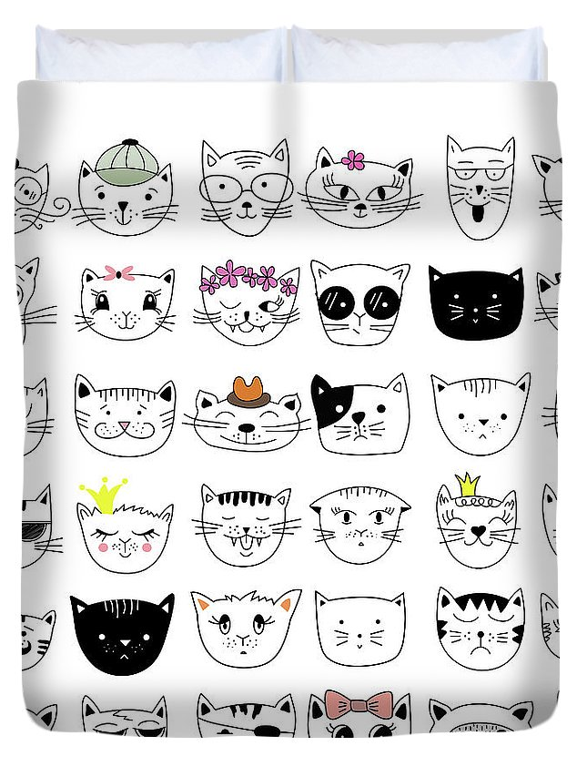 Pets Duvet Cover featuring the digital art Cats, Set Of Cute Doodle by Alona Savchuk
