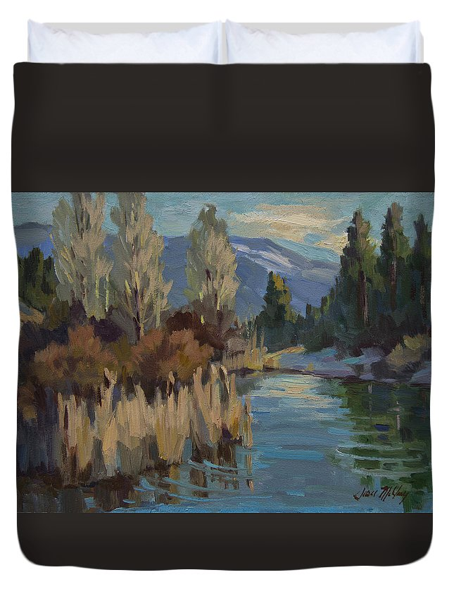 Pond Duvet Cover featuring the painting Cattails At Harry's Pond 1 by Diane McClary
