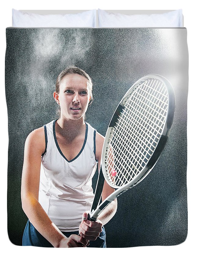 Cool Attitude Duvet Cover featuring the photograph Caucasian Tennis Player In Rain by Erik Isakson
