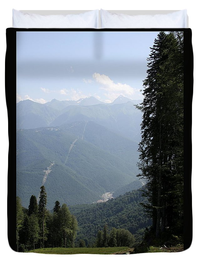 Kasnaya Polyana Duvet Cover featuring the photograph Caucasus Mountains - Krasnaya - Sochi Russia by Christiane Schulze Art And Photography