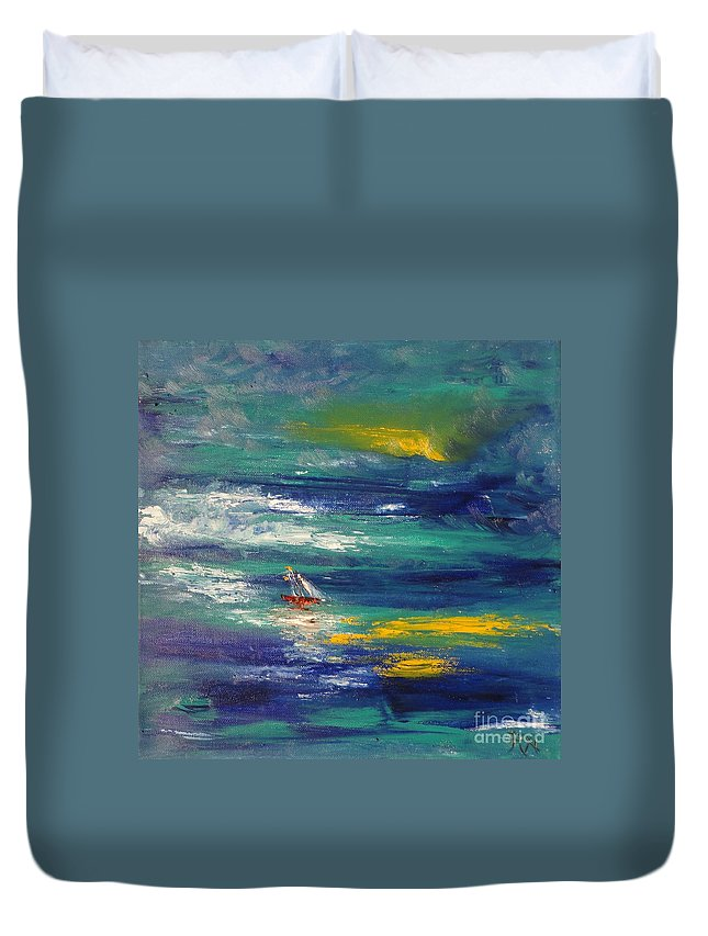 Caught Off Guard Duvet Cover featuring the painting Caught Off Guard by PainterArtist FIN