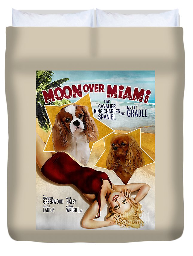 Dog Duvet Cover featuring the painting Cavalier King Charles Spaniel Art - Moon Over Miami Movie Poster by Sandra Sij
