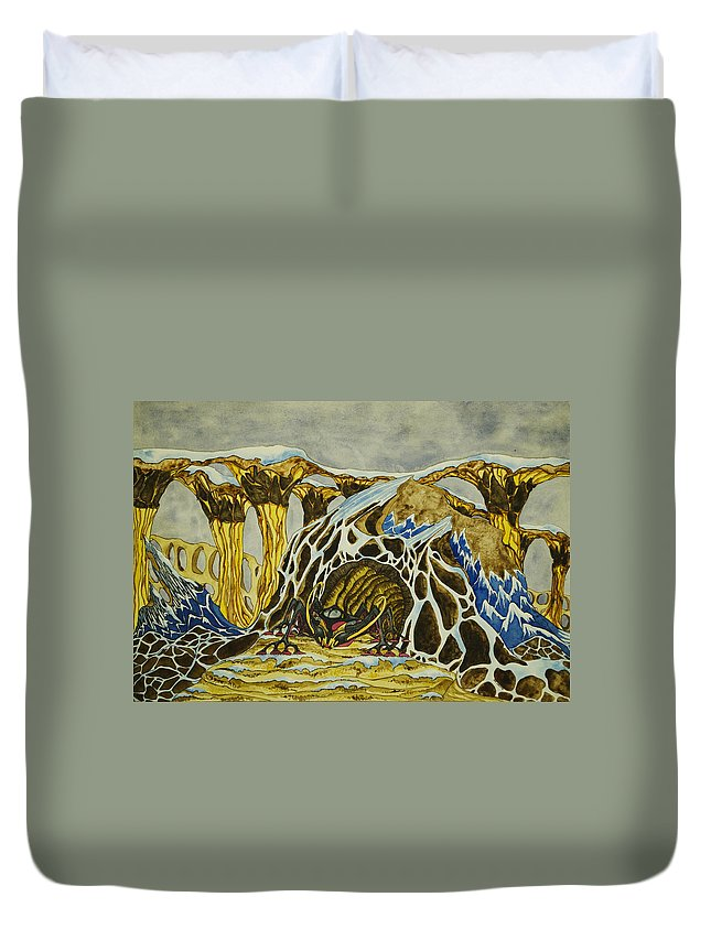 Creature Duvet Cover featuring the painting Cave Creature by Daniel P Cronin