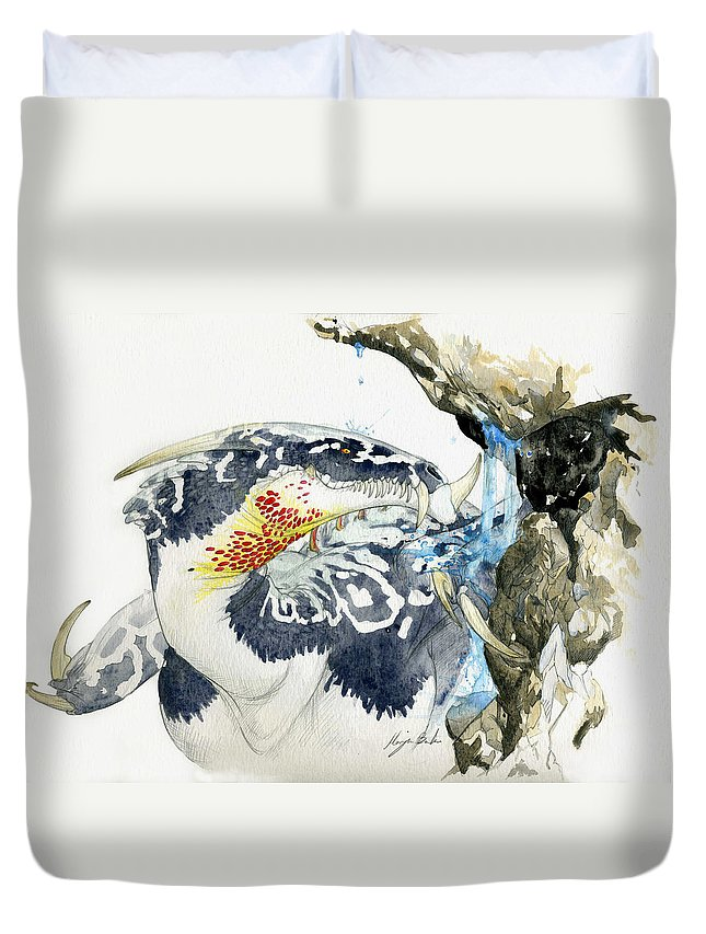 Dragon Duvet Cover featuring the painting Cave Dragon by Morgan Banks