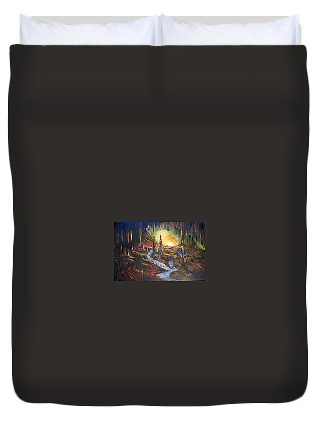 Rock Duvet Cover featuring the painting Cave Dwellers by Sue Stake