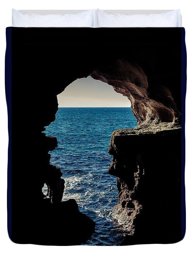 Cave Duvet Cover featuring the photograph Cave Hole by Desislava Panteva