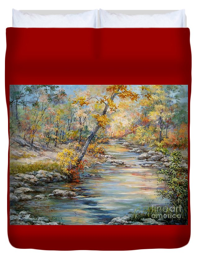 Landscape Duvet Cover featuring the painting Cedar Creek Trail by Virginia Potter