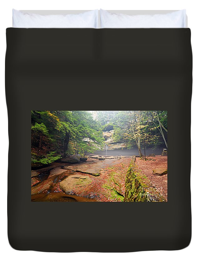 Photography Duvet Cover featuring the photograph Cedar Falls by Larry Ricker