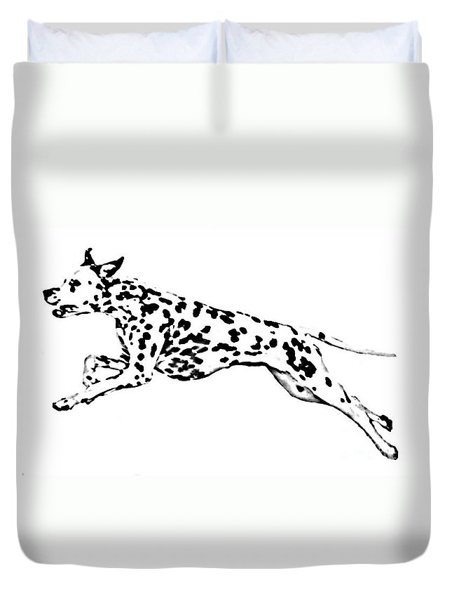 Dogs Duvet Cover featuring the drawing Celebrate by Jacki McGovern