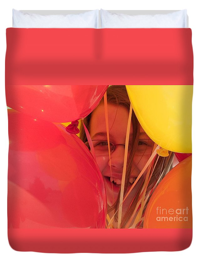 Balloons Duvet Cover featuring the photograph Celebrating by Ann Horn