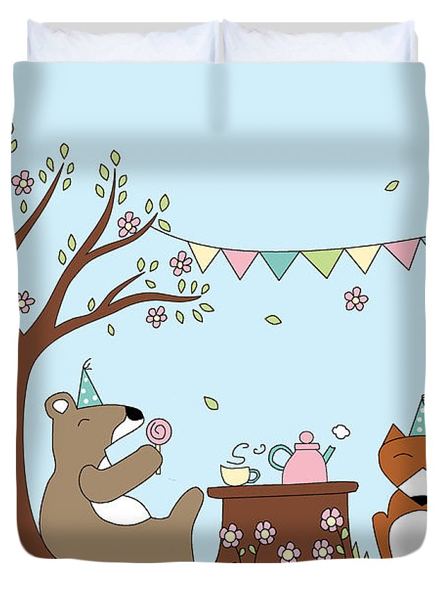 Party Duvet Cover featuring the digital art Celebration by Kathrin Legg