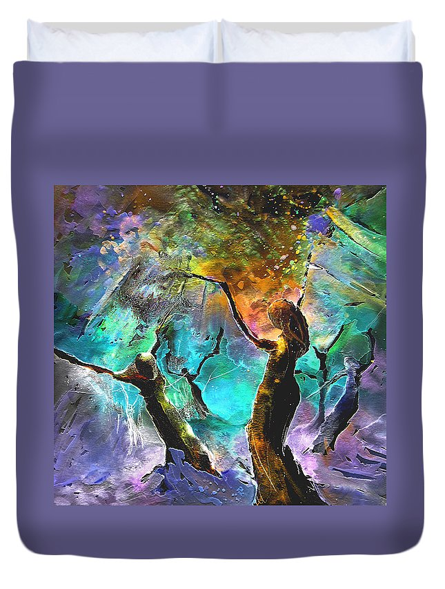 Miki Duvet Cover featuring the painting Celebration Of Life by Miki De Goodaboom