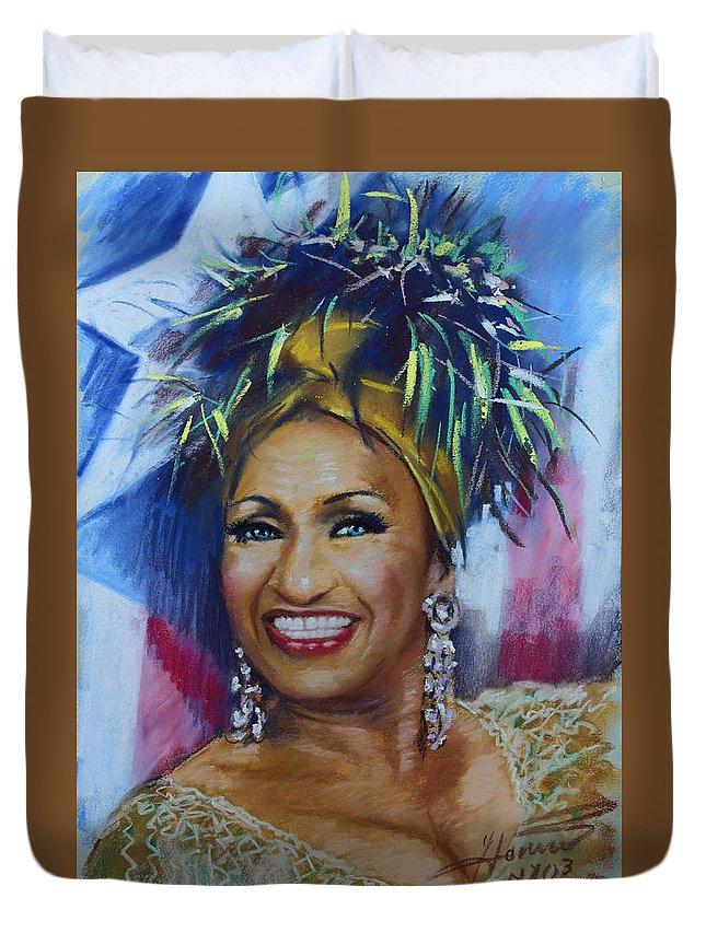 Cuban American Salsa Duvet Cover featuring the drawing Celia Cruz by Viola El